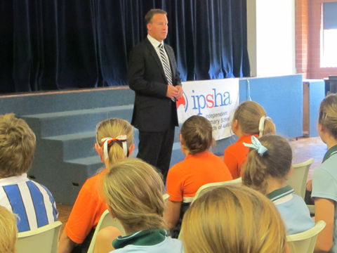 The Hon Will Hodgman speaks to students at the 2012 IPSHA Leadership Day